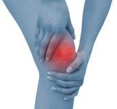 акутовая женщина боли колена Стоковая Фотография RF