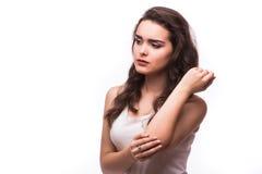 акутовая женщина боли локтя Стоковые Фото