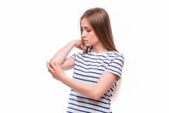 акутовая женщина боли локтя Стоковые Изображения