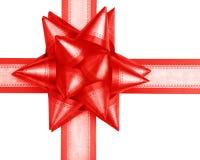 акутовый angled красный цвет подарка смычка Стоковые Изображения RF