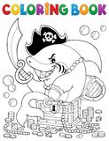 Акула пирата книжка-раскраски с сокровищем бесплатная иллюстрация