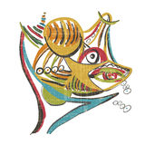 Акула с добычей Стиль абстрактного искусства Стоковое Изображение RF