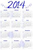 Акцент сини 2014 календарей Стоковые Изображения RF
