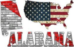 Алабама на кирпичной стене с картой США Стоковые Фотографии RF