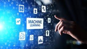 Алгоритмы обучения машины глубокие, искусственный интеллект AI, автоматизация и современная технология в деле как концепция стоковое изображение rf