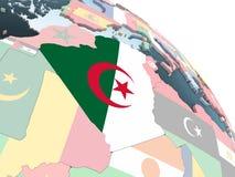 Алжир с флагом на глобусе иллюстрация вектора