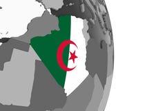 Алжир с флагом на глобусе иллюстрация штока
