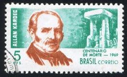 Аллан Kardec напечатанное Бразилией Стоковое фото RF