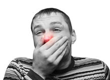 аллергия холодная имеющ мыжских детенышей Стоковые Изображения