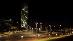 Алфавитная башня на ноче в городе Батуми, Georgia акции видеоматериалы