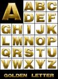 алфавитный комплект металла пем золота Стоковое Изображение