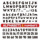 Алфавиты и номера, шрифты иллюстрация вектора