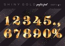 Алфавит золота вектора сияющий Реалистическая металлическая пальмира бесплатная иллюстрация