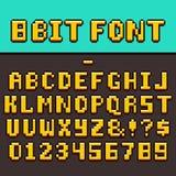 Алфавит и номера потехи видеоигры пиксела 8-разрядный шрифт вектора игры oldschool пиксела бесплатная иллюстрация