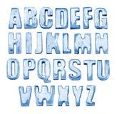 Алфавит льда Изолировано на белизне Реальные фото замороженных писем стоковые фото