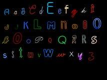 алфавит помечает буквами неон иллюстрация вектора