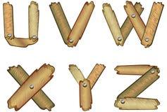 алфавит помечает буквами деревянное Стоковое Изображение