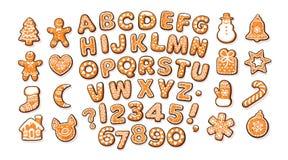 Алфавит пряника рождества и Нового Года и милые традиционные печенья праздника Сахар покрыл письма и номера бесплатная иллюстрация