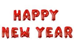 Алфавит счастливого Нового Года английский от воздушных шаров на белизне Стоковая Фотография RF