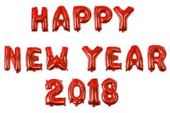 Алфавит счастливого Нового Года английский от воздушных шаров на белизне Стоковое Изображение RF