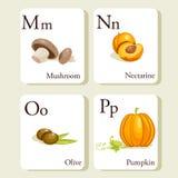 алфавит чешет овощи плодоовощей Стоковые Изображения
