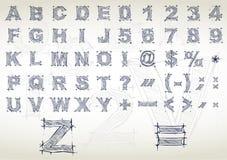 Алфавит эскиза. Иллюстрация вектора Стоковые Фотографии RF