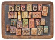 Алфавит Letterpress на balckboard Стоковая Фотография