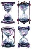 Алхимические часы песка, paintind акварели на белой предпосылке бесплатная иллюстрация