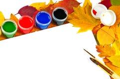 альбом чистит краски щеткой листьев рамки Стоковые Изображения