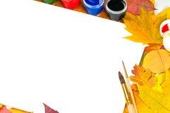 альбом чистит краски щеткой листьев рамки Стоковое фото RF