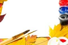 альбом чистит краски щеткой листьев рамки Стоковое Фото