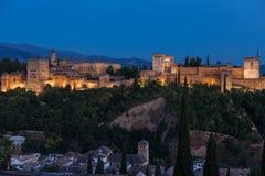 Альгамбра в Spains Гранаде во время сезона лета Стоковые Фото