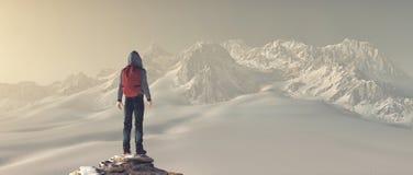 Альпинист поверх горы стоковое фото