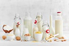 Альтернативные типы доят Молоко молокозавода Vegan заместительское стоковые изображения rf