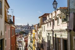 Альт Bairro, Лиссабон, Португалия Стоковое фото RF