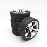 Алюминиевые колеса с автошинами Стоковые Фото