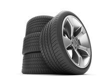 Алюминиевые колеса с автошинами Стоковое Изображение