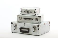 алюминиевые чемоданы Стоковая Фотография