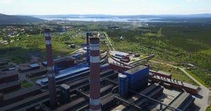 Алюминиевый вид с воздуха металлургического предприятия Стоковое Изображение RF