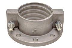 Алюминиевый изолят фланца на белизне Фланцы, масло или газовая промышленность алюминиевый бросать стоковые изображения