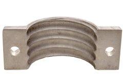 Алюминиевый изолят фланца на белизне Фланцы, масло или газовая промышленность алюминиевый бросать стоковая фотография