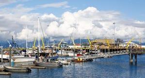 Аляска - рыбопромысловый флот гавани шлюпки пробежки домой стоковая фотография rf