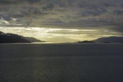 аляскский заход солнца стоковые изображения rf