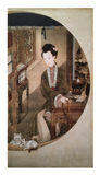 12 дама Портрет, известная китайская роспись Стоковое Изображение