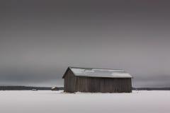 3 амбара на полях зимы Стоковые Фотографии RF