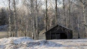 Амбар в ландшафте зимы Стоковая Фотография RF