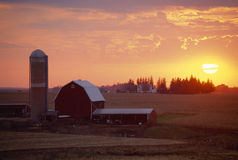 Амбар и силосохранилище на заходе солнца, Стоковая Фотография