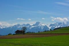 Амбар на поле лета швейцарском зеленом и голубом небе Стоковая Фотография RF
