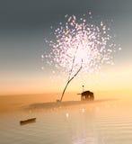 Амбар под волшебными деревьями Стоковое фото RF