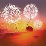 Амбар под волшебными деревьями Стоковые Изображения RF